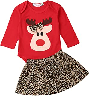 Christmas Toddler Infant Baby Girl 3D Elk Printing Romper Top and Leopard Skirt 2Pcs Outfit