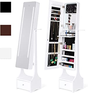 Best Choice Products Full Length Standing LED Mirrored Jewelry Makeup Storage Cabinet Armoire with Interior & Exterior Lights, Touchscreen, Shelf, Velvet Lining, 4 Compartments, Drawer, White
