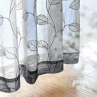 Grey Sheer Curtains for Living Room Geometric Leaf Embroidered Curtains Voile Botanical Tile Drapes for Bedroom Kitchen Rod Pocket 95 inch 2 Panels