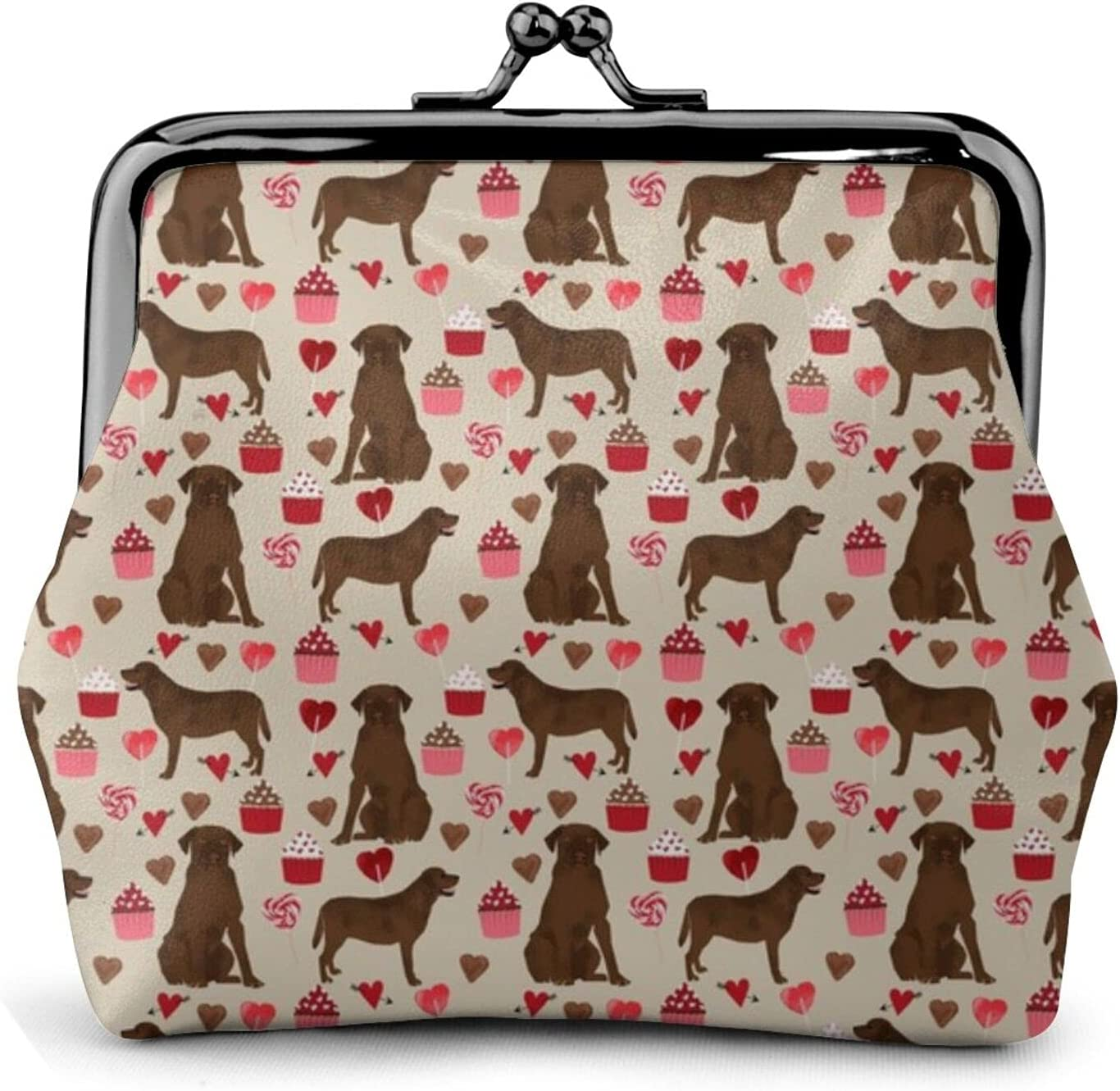 Chocolate Labrador Dog 1556 Coin Purse Retro Money Pouch with Kiss-lock Buckle Small Wallet for Women and Girls