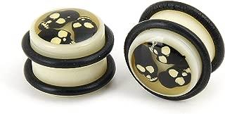 Pair Ivory Color Acrylic Ear Plugs O Ring Triple Enclosed Black Skulls