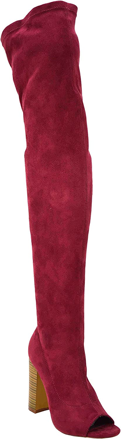 Olivia Jaymes Women Over The Knee Boots Thigh high Open Toe Chunky Block Heel Boots