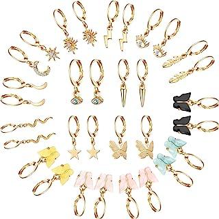 16 Pieces Huggie Dangle Hoop Earrings with Charms Small Cute Butterfly Moon Star Drop Hoop Earrings for Women Girls