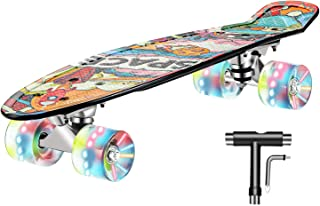 Skateboard Complete 22 inch Mini Cruiser Skateboard for Kids Teens Adults with Sturdy Deck,LED Light up Wheels with All-in-One Skate T-Tool for Beginners