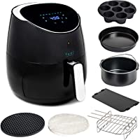 Yedi Houseware 5.8 QT XL Air Fryer with Cooking Basket Divider and Deluxe Accessory Kit