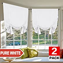 H.VERSAILTEX Pure White Curtains Thermal Insulated Tie Up Window Shade Light Reducing Curtains for Kitchen, Rod Pocket 2 Panels- 42
