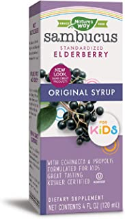 Nature's Way Sambucus Elderberry Immune Syrup for Kids, Herbal Supplements, Gluten Free, Vegetarian, 4 Ounce (Packaging May Vary)