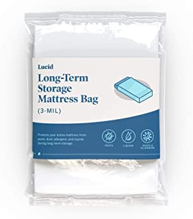 LUCID Heavy Duty 3 mil Mattress Bag with Double Adhesive Closure - Sealable Cover for Moving and Storage - King