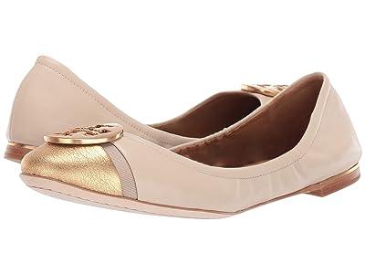 Tory Burch Minnie Cap-Toe Ballet (Dulce De Leche/Gold) Women