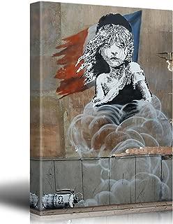 wall26 Canvas Print - Les Miserables - Banksy Street Art - Graffiti - Calais Refugee Tear Gas Political Statement - French Flag - Canvas Wrap 16