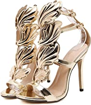 Letters-from-Iceland sandals Summer Women High Heels Gold Winged Leaves Cut-Outs