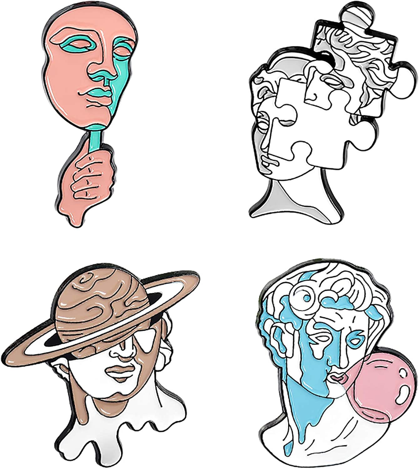 Gillna Human Art Enamel Pins for Backpacks-Horror Abstract Brooch Pins Set Creative Mask Jigsaw Puzzle Bubbles Planet Lapel Pins for Women Badge Outfit Accessory