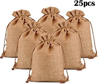 """Lucky Monet 25/50/100PCS Burlap Gift Bags Wedding Hessian Jute Bags Linen Jewelry Pouches with Drawstring for Birthday, Party, Wedding Favors, Present, Art and DIY Craft (25Pcs, Coffee, 3"""" x 4"""")"""