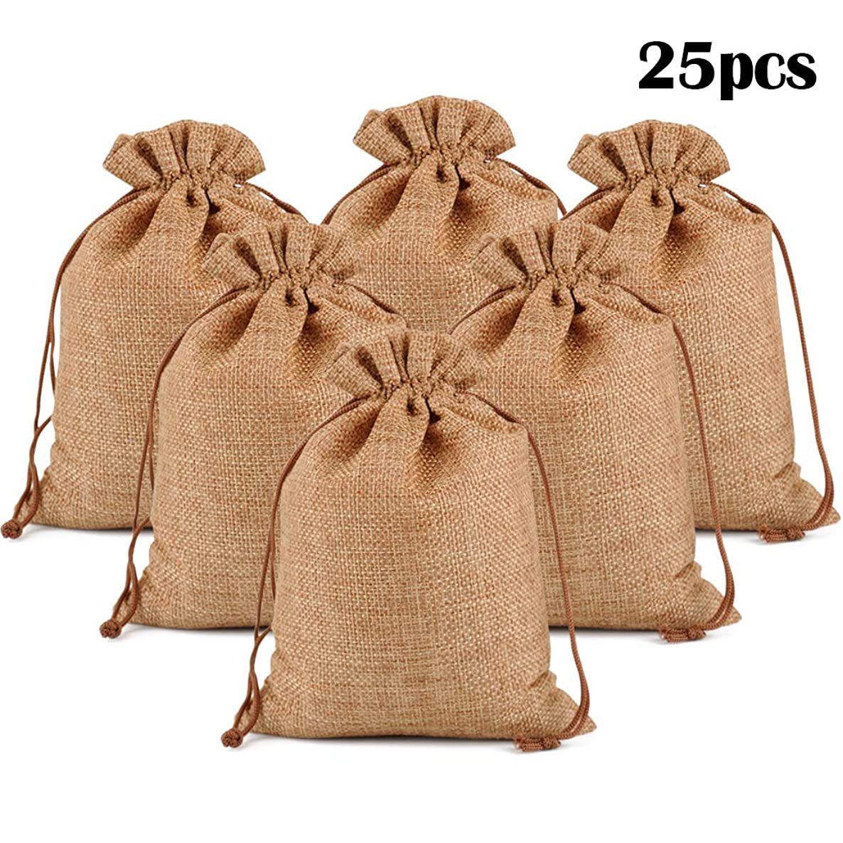 """Lucky Monet 25/50/100PCS Burlap Gift Bags Wedding Hessian Jute Bags Linen Jewelry Pouches with Drawstring for Birthday, Party, Wedding Favors, Present, Art and DIY Craft (25Pcs, Coffee, 3"""" x 4"""") yujl5160087066"""