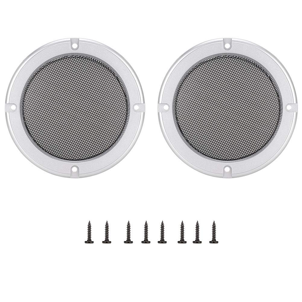 2PCS 4inch Speaker Covers Protective Decorative Circle Mesh Cover Silver Speaker Grills