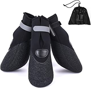 Amerla Waterproof Rugged Pet Dog Booties All Weather Puppy Shoes Large Dog Boots Nonslip Black Rubber Sole Reflective Velcro Strap Breathable Paw Protectors Set of 4