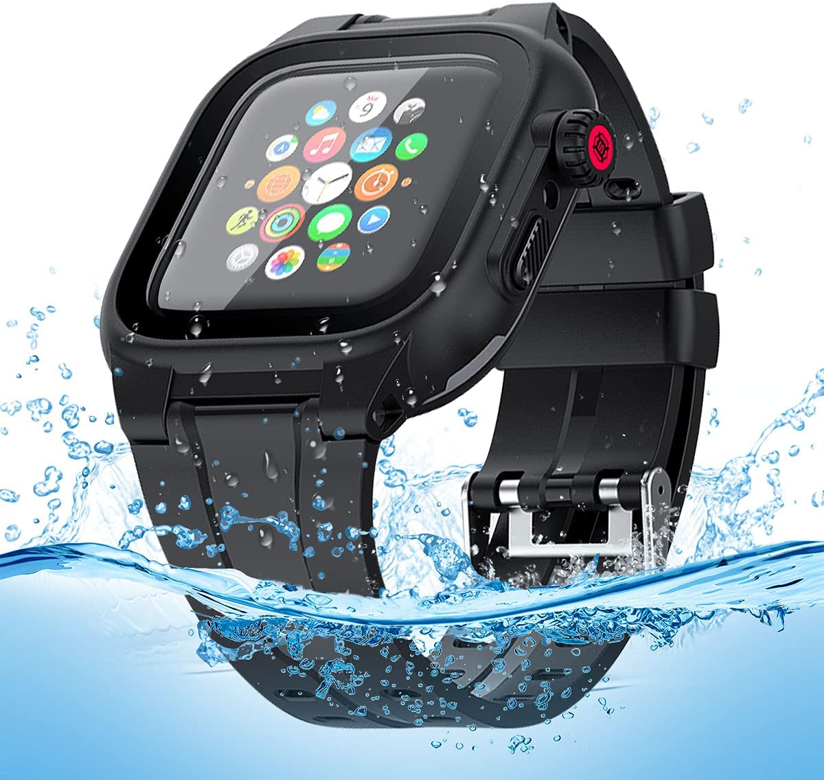 Apple Watch Waterproof Case for 44mm Apple Watch Series 6/5/4/SE, Waterproof Shockproof Impact Resistant Rugged Protective Case with Built-in Screen Protector Premium Soft Strap Bands Black