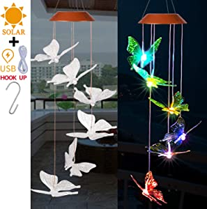 Solar Butterfly LED Wind Chimes Outdoor With S Hook - Solar Powered and USB Charging, Waterproof Changing Light Color Mobile Romantic Butterflies Windchime Gifts For Mom, Home Decor, Garden Decoration