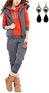 Hoodie Chaqueta Chaleco Pantalones MODETREND Mujer 3pcs Ch/ándal Encapuchada Casual Conjuntos Deportivos Oto/ño Invierno Sudadera con Capucha Sweatshirt
