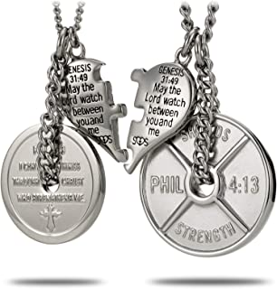 Stainless Steel Weight Plate & Puzzle Split Heart Combo Necklace-Phil. 4:13/Genesis 31:49