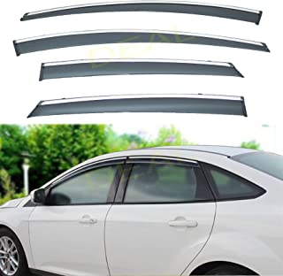 DEAL 4-piece set vent window visor with smoke chrome trim, side window rain guard with outside mount tape-on type, custom fit high-class quality for 2012-2018 Ford Focus All Models