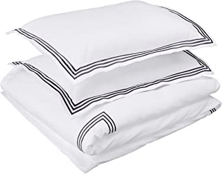 AmazonBasics Embroidered Hotel Stitch Duvet Cover Set - Premium, Soft, Easy-Wash Microfiber - Full/Queen, White with Navy Blue Embroidery