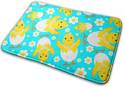 Chicks Eggs and Daisies Carpet Non-Slip Welcome Front Doormat Entryway Carpet Washable Outdoor Indoor Mat Room Rug 15.7 X 23.6 inch