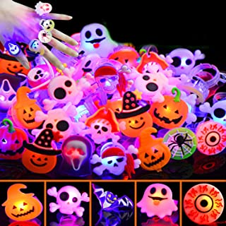 50 Pcs Halloween LED Glow Ring,Light Up Toys Glow in the Dark Birthday Halloween Party Favors Decorations Supplies for Ki...