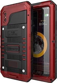 Beeasy Funda Antigolpes iPhone XS [Sumergible] Carcasa Impermeable Resistente Reforzada Acuática Waterproof Metálica Grado Militar Resistente Antipolvos Case para iPhone 10SRojo