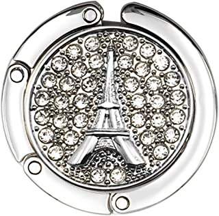 Reizteko Purse Hook,French Eiffel Tower Rhinestone Foldable Handbag Purse Hanger Hook Holder for Tables, White, x