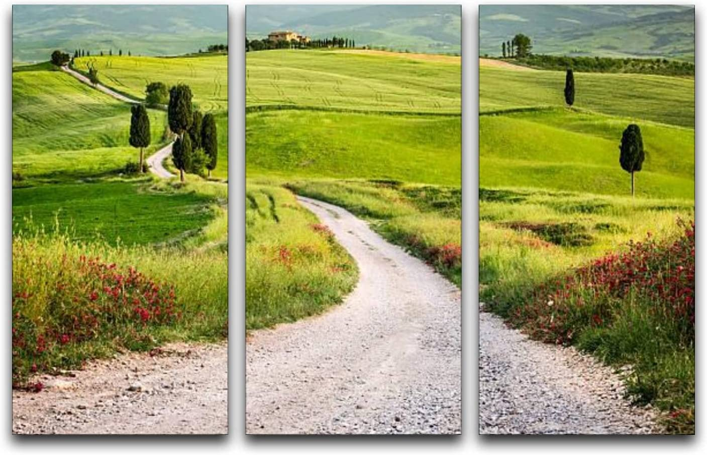 3 Panels Wall Ranking TOP2 Art Popularity Pictures Dirt Tuscany green and field road in