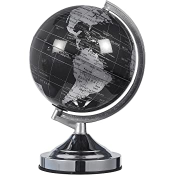 Juvale World Globe - 8-Inch Black and Silver Political Globe - Spinning and Rotating Desktop Globe with Stand - Great Educational Gift for Kids, Adults, Teachers