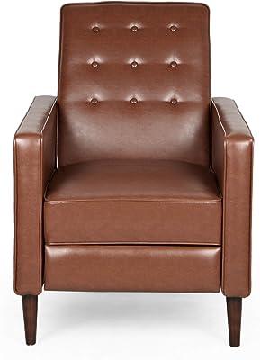 Christopher Knight Home Randolph Mid-Century Modern Button Tufted Recliner, Cognac Brown, Dark Espresso