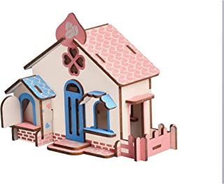Aryellys Natural Wood 3D Puzzle Tiny House Collection Wooden Jigsaw Craft Building Set (Chocolate House)