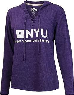 New York University NYU Violets Women Lace Up V-Neck Hooded Shirt Hoodie