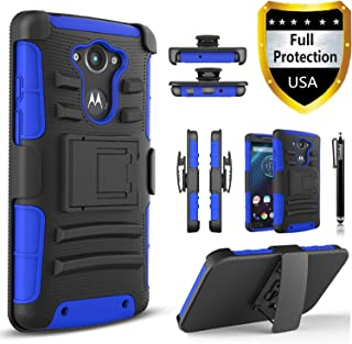 Droid Turbo Case, Circlemalls Dual Layers [Combo Holster] and Built-in Kickstand Bundled with Dual Layers Protection Hybrid Shockproof Phone Case and Stylus Pen for Motorola Droid Turbo XT1254-Blue