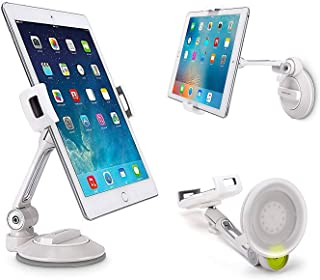 "Grip Tight iPad Suction Cup Holder Fits 4-11"" Display, Large Swivel Sticky Tablet Phone Stand Pad to Mount Smartphone, iPhone 5 6 7 iPad Mini, Cell on Smooth Surface Desk Countertop Mirror Car Window"