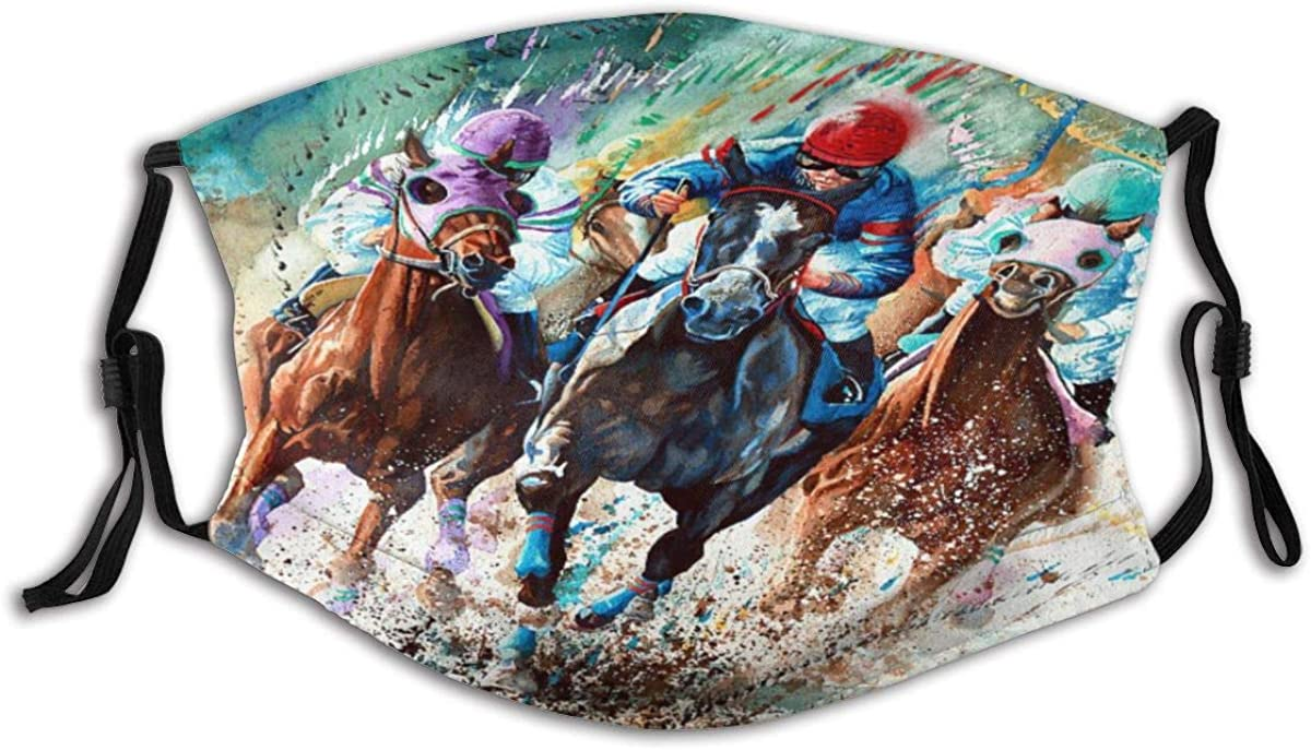 VAMIX Face Cover Horse Race Thoroughbred Equine Horses Artist Horse Racing Painting Watercolor Sports Balaclava Unisex Reusable Windproof Anti-Dust Mouth Bandanas Neck Gaiter with 2 Filters