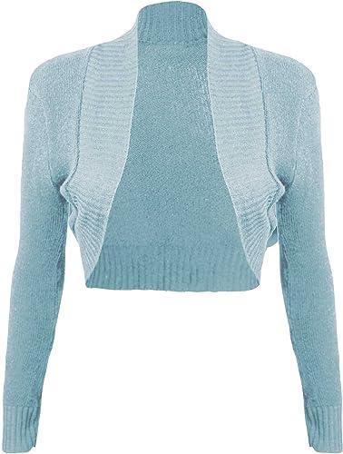 GK Womens Slim Plain Shrug Long Sleeve Tops Ruffled Bolero Cardigan Size S-2XL