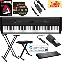 Yamaha P-515 88-Key Digital Piano - Black Bundle with Adjustable Stand, Bench, Sustain Pedal, Dust Cover, Instructional Book, Online Lessons, Austin Bazaar Instructional DVD, and Polishing Cloth