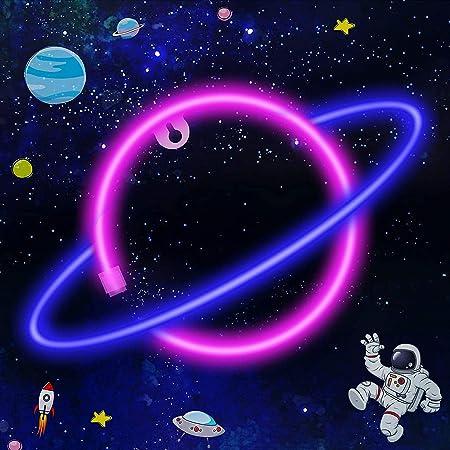 LTXDJ Planet Neonlicht, LED-Schilder Neonschilder LED Planet Sign Planet Neonlichter, Akku oder USB betrieben Planet Licht Deko für Zuhause, Kinderzimmer, Bar, Party, Weihnachten