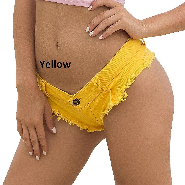 Jieming セクシーなデニムブーティーショーツホールビキニセクシージーンズファッションデザインジーンズショーツローライズビーチショート (Color : Yellow, Size : L)