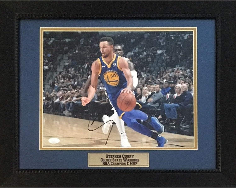 Stephen Curry Autographed golden State Warriors Basketball Signed NBA Champion MVP 11x14 Photo Framed JSA COA 4