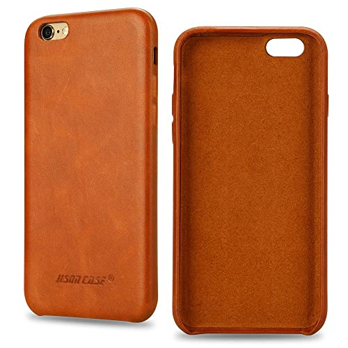 e6a21cfb464 Jisoncase iPhone 6s Plus Case Genuine Leather Hard Back Case Slim Fit  Protective Cover Snap on