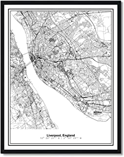 Susie Arts 11X14 Unframed Liverpool England Metropolitan City View Abstract Street Map Art Print Poster Wall Decor V328