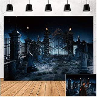 Halloween Theme Photography Background 7x5ft Night Creepy Tombstone Photo Backdrops Scary Castle Scene Trick Or Treat Baby...