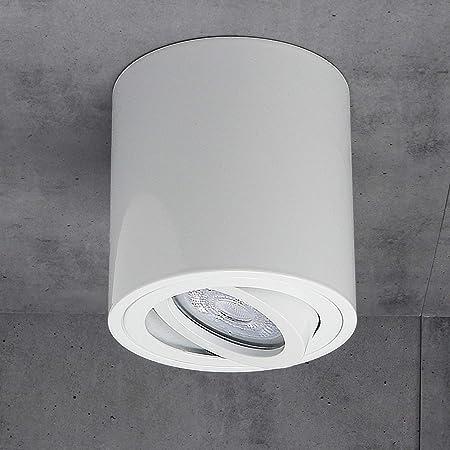 JVS Plafonnier Plafonnier Led Milano GU10 230V [rond, blanc, orientable] Plafonnier Spot Plafonnier CUBE Lustre en aluminium