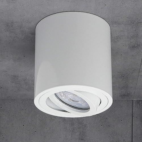 JVS Plafonnier Plafonnier Led Milano GU10 230V [rond, blanc, orientable] Plafonnier Spot Plafonnier CUBE Lustre en al...
