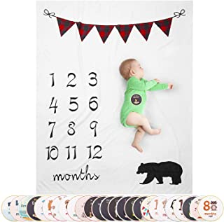 Large Plaid Banner Milestone Blanket Boy, Baby Monthly Milestone Blanket, Bonus 25 Baby Milestone Stickers Included (Bear Themed)
