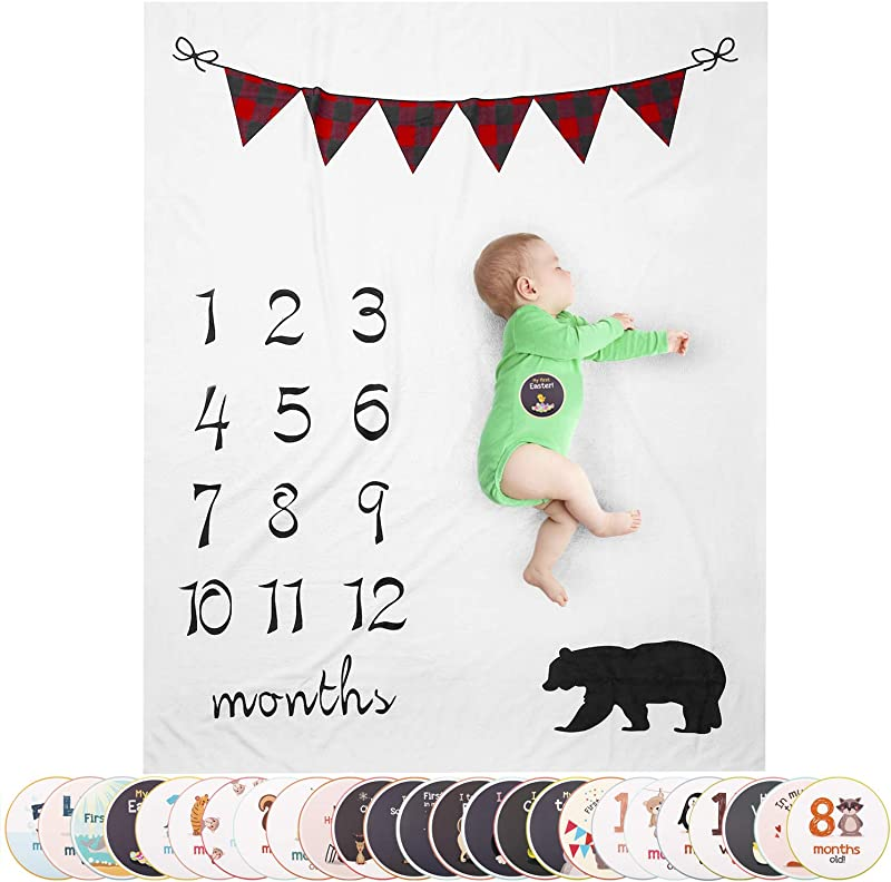 Large Plaid Banner Milestone Blanket Boy Baby Monthly Milestone Blanket Bonus 25 Baby Milestone Stickers Included Bear Themed